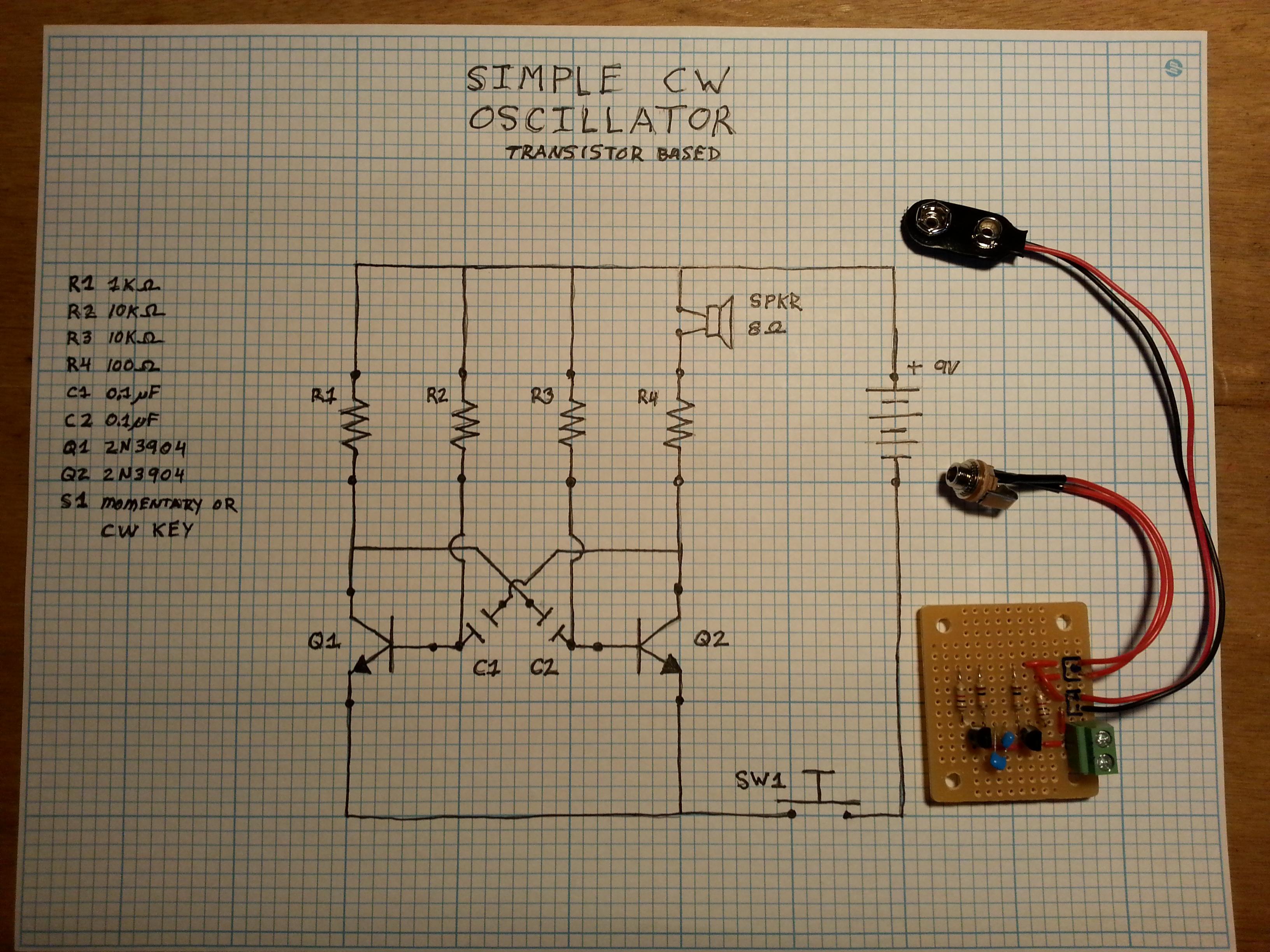 Cw Practice Oscillator Kk6gxg Basic Circuit Mark I Protoboard And Schematic